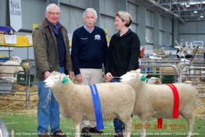 Malcolm Fletcher and Trudy Boyer of 'Mount Monmot' stud, with Judge John Armstrong