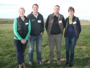 The Fossil Creek Angus Limited Joint Venture was announced at the Newhaven Field day. Jane Smith, Blair Smith, Neil Sanderson, Rose Sanderson